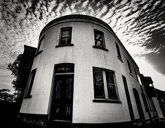 Corner house (Martin Snicer Photography) Tags: round corner building architecture bw blackandwhite creative fineartphotography therocks sydney street perspective 70d canon wideangle 1018mm martinsnicer