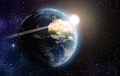 Earth #1 (April 2017) (Lazlo Woodbine) Tags: earth blender blenderguru tutorial nasa 3d model modelling compositing space vfx april 2017 skills learning sun flare glare