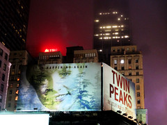 Twin Peaks Billboard Times Square 2017 Foggy Night NYC 4863 (Brechtbug) Tags: twin peaks the return billboard poster ad laura palmer sheryl lee fbi agent dale cooper kyle maclachlan mystery 90s show showtime type mysterious bird birds owl owls may 05212017 9pm 2017 nyc broadway 50th st near times square midtown manhattan street new york city streets 04272017 hazy fog foggy night nite