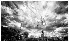 Cloud storm at Zollverein (frankdorgathen) Tags: powerpole building architecture industry outdoor cloud sky blackandwhite monochrome wideangle zollverein zeche essen ruhrgebiet