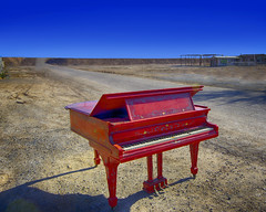"""Play us a song, you're the Piano Man"" (j_piepkorn65) Tags: abandoned bombaybeach piano red saltonsea california ruralexploration urbex palmsprings desert"