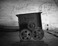 Curious contrivance. (mernamora) Tags: derelict hartsmill flour mill analogue bw monochrome old antique machines machinery discover patent
