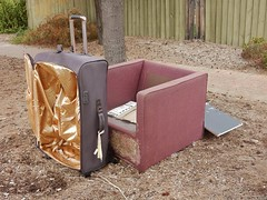 Suitcase and Chair (mikecogh) Tags: henleybeach suitcase chair hardrubbish gold lining footpath pavement
