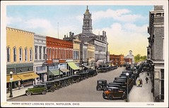 """Perry Street Looking South, Napoleon, Ohio."" Postcard 1A1154, Shaff's Drug Stores, (1931) (lhboudreau) Tags: postcard postcards colorphoto outdoor outdoors vintagepostcard downtownnapoleon pedestrians road city street buildings 1a1154 postcard1a1154 car cars autos automobiles antiqueautomobiles storefront storefronts antiquepostcard perrystreet ohio napoleonohio 1931 shaffs shaffsdrugstores perrystreetlookingsouth"