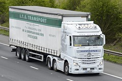 LM12 EUH (panmanstan) Tags: mercedes actros mp4 wagon truck lorry commercial curtainsider freight transport haulage vehicle m18 motorway langham yorkshire