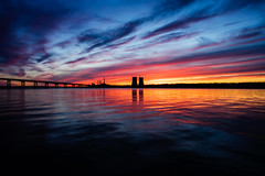 Water fire (Robert...P) Tags: somerset fallriver coolingtowers cooltones warmtones waterfront sunset bragabridge