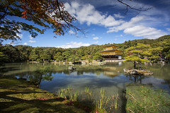 The green surroundings at the Golden Pavilion in Kyoto, Japan (Tim van Woensel) Tags: kinkakuji temple golden pavilion kyoto japan asia buddhist rokuonji deer garden zen national special historic site landscape monuments ancient world heritage sites gold leaf architecture kansai honshu unesco blue sky clouds green trees forrest autumn