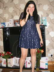 Christmas Call.... (seanfderry-studenna) Tags: nina stunning beauty beautiful gorgeous charm charming little blue silver dress tights black shoes indoors inside mobile phone device brunette long dark hair brown eyes pink lips bare skin arms face neck throat standing legs hands talking smile smiling happy married wife fiancee girlfriend girl female woman serb people person irish ireland belfast christmas december 2016