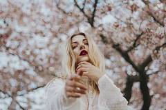Spring. (amor vacui;) Tags: spring flowers beauty red lips blonde canon canonphotography outdoor alternative nature girl femalephotography femaleportrait fineart 50mm portrait portraiture