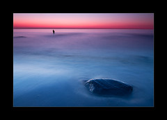 Gone fishin' (hmnx) Tags: blue sunset seascape rock stone fishing fisherman balticsea nienhagen gespensterwald spookyforest
