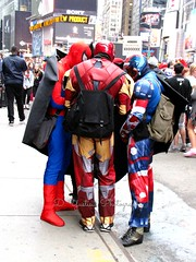 The Gathering of Superheroes (De Justice) Tags: nyc newyorkcity travel cowboy spiderman ironman tourist timessquare batman cowgirl superheroes captainamerica
