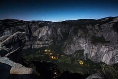 Full Moon Over the Valley (Joe Ganster) Tags: california park trees light cliff moon mountain mountains fall nature water night forest stars point landscape waterfall high natural joe falls sierra glacier full upper nighttime national valley yosemite bow lower range cascade moonbow ganster