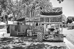 DSCF6846 (RHMImages) Tags: blackandwhite bw sign fuji fair pizza fujifilm countyfair contracostacounty bigfatsausage x100s
