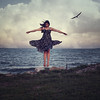 That summer, she taught herself to fly. (Brandie Minchew) Tags: ocean sea summer bird beach water fly flying flight dream surreal levitation daydream sundress fineartphotography conceptualphotography texturebylesbrumes
