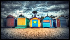 Brighton Beach Bathing Boxes.  HDR (mynameisjimmy79) Tags: light sunset colour beach canon lens boat high sand brighton dynamic angle box low tripod wide shed australia melbourne victoria boxes bathing tamron range hdr 600d