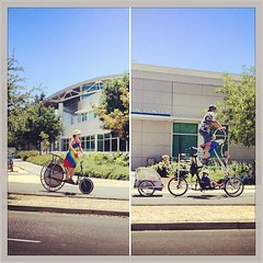 The missus and I bringing the kids home from Saturday market thru UCDavis..! (whymcycles) Tags: bike bicycle sam recycled tricycle rad bikes trampoline bici trike tandem bigwheel bicyclette ingo velo fahrrad tadpole ucdavis tallbike pushbike quadracycle highbike whymcycle peterwmwagner peterwagner ingobike
