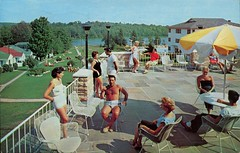 The Wildemere, Livingston Manor NY (SwellMap) Tags: people vintage pose advertising person photography design pc 60s couple fifties postcard snapshot suburbia fake posing style kitsch retro nostalgia chrome americana 50s persons roadside populuxe crowds sixties babyboomer consumer groups coldwar midcentury atomicage