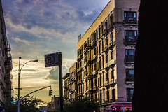 The Corner (nickfehlinger) Tags: nyc sunset home yellow clouds purple harlem noparking vivid bodega