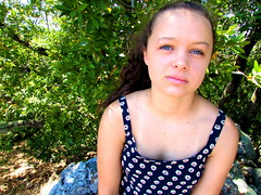 olive (jenaec) Tags: california summer girl beautiful smart rock eyes lily skin hiking gorgeous blueeyes marin hike lips sunflowers teenager iloveyou brunette bestfriend curlyhair tanline perfection pondering tomahawk