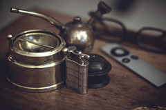 IMG_5654.jpg (sixthland) Tags: wood domestic flare lighter ashtray brass spectacles tabletop 550d blipfoto