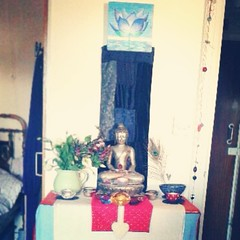 Eleanor, Home Shrine Eastbourne, UK...           feeling such gratitude and appreciation for this wonder  and metta full urban retreat   added a heart, studded with pearl beads, to my shrine today   to represent heart connection and a more truthful commun
