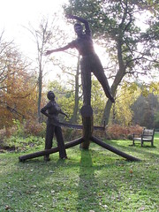 Pull Don't Push shadow (Nekoglyph) Tags: autumn trees light sculpture statue work saw women shadows forestry timber steel yorkshire headscarf rusty historic worldwarii ww2 publicart remembrance dungarees figures felling commemoration dalbyforest womenslandarmy landgirls lumberjills womenstimbercorps raylonsdale