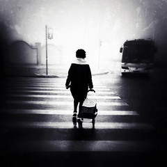 the endless journey to a better tomorrow~ Shanghai (~mimo~) Tags: china street city urban blackandwhite woman bus monochrome mobile square smog asia crossing shanghai streetphotography pollution iphone mimokhair