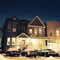 Christmas Lights (aaronvandorn) Tags: longexposure nightphotography homes winter jerseycity christmaslights nightscene harrisonavenue residentialstreet minoltaautocord kodakportra160 johnfkennedyboulevard