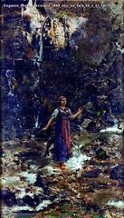 Eugenio Prati Pastorella 1894 olio su tela 39 x 21 cm