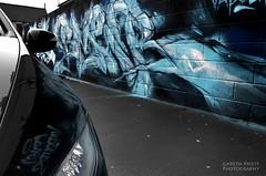 Reflective Selective (Gareth Priest) Tags: life street city uk urban bw inspiration streetart reflection art cars wales composition writing puddle graffiti mirror town nikon experimental colours creative cardiff culture urbanart shade hiphop innercity capture tones timeless spraycanart roath selectivecolour d5100