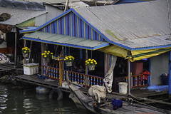 Colorful floating house (Keith Kelly) Tags: city cruise flowers sunset house water river fun boat colorful asia cambodia seasia southeastasia capital floating phnompenh kh colourful aroundtown mekong tonlesap kampuchea