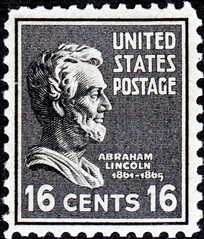 Lincoln 16¢ (sjrankin) Tags: edited library 1938 lincoln wikipedia usps abrahamlincoln unitedstatespostalservice 16¢ 24march2014 iss039e3087 presidentseries