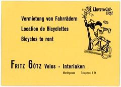 Vermietung von Fahrrädern—Unverwüstlich! / Bicycles to Rent—Indestructible! (Alan Mays) Tags: ephemera businesscards cards namecards names advertising advertisements ads advertisingcards paper printed fritzgötzvélos götz fritzgötz businesses men clothes clothing plusfours knickerbockers knickers trousers hats bicycles bicyclists bikes cycles fahrrädern vélos bicyclettes rent rentals renting vermietung location accidents crashes streetlamps unverwüstlich indestructible german french english languages multilingual illustrations yellow marktgasse interlaken switzerland swiss antique old vintage typefaces type typography fonts