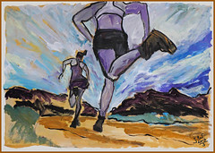 Runners (Jocawe) Tags: canoneos60d 1755mm dpp availablelight painting acryl paperboard runners black white ocre blue green lilac