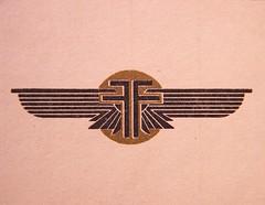 The 01 PROSPECTUS, Last Cover detail, Farman Air Lines Logo (afvintage) Tags: farman farmanairlines ff artdeco egyptianstyle 20s logo design emblème emblem symbol mark airline airnavigationcompany