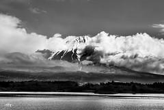 Magnificent Mt. Fuji (Greg Tokyo) Tags: mountfuji fujisan japan lake tanuki 6d 2017 bw clouds monochrome