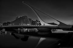 Harp (MarkWaidson) Tags: dublin samuelbeckettbridge conventioncentre night reflections dark mono low key river liffey