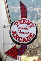 Penny Arcade (Patricia Henschen) Tags: manitousprings colorado spring sign arrow arcade penny worldfamous