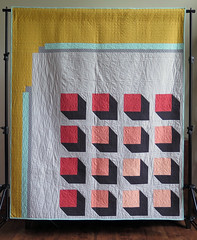 City Planner full (Quiltachusetts - Heather Black) Tags: modern contemporary quilt quilting 3d yellow mustard aqua coral orange grey gray solid geometric quiltachusetts patchwork magazine pattern design