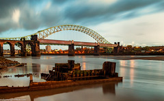 Boat wreck on the Mersey (3 of 5) (andyyoung37) Tags: england reflections runcorn runcornbridge sunkenboat uk cheshire rivermersey sunset widnes unitedkingdom gb
