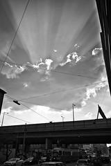 Rays of Light (Rene'D.) Tags: 2016 ray rays sunray sun cloud bw bnw monochrome fuji x70 beam sunbeam light