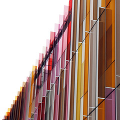 - coloured glass - (Jacqueline ter Haar) Tags: departmentofbiochemistry university oxford hawkinsbrown architects facade colourful