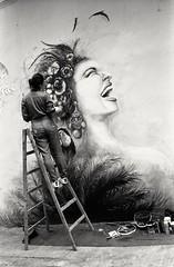 (David Davidoff) Tags: people street art painter wall graffiti urbanlandscape cityscene ladder woman lady pretty beauty mural lol