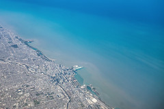 Chicago and Lake Michigan (ExceptEuropa) Tags: illinois lakemichigan sonyrx100 sonyrx100ii sonyrx100m2 aerial air airborne city downtown flight intheair landmark landscape nature photographer photography sky somewhere sony travel urban water