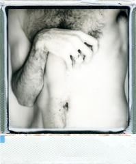 img086 (Opetre) Tags: polaroid pola impossible 600 690 black white nude blackandwhite naked skin lowkey low backdrop self me portrait chest