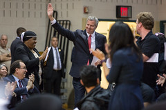 New York City Mayor Bill de Blasio and Council Member Jimmy Van Bramer host a town hall at the Queens Vocational and Technical High School in Queens, N.Y. and answers questions from residents of Long Island City, Sunnyside Gardens and Woodside on Thursday (nycmayorsoffice) Tags: mayor mayorbilldeblasio townhall town hall queens community cau engagement constituents longislandcity sunnysidegardens woodside townhallmeeting meeting newyorkcity nyc newyorkcitymayor april newyork usa