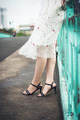 Oanh (Hồ Văn Tìm) Tags: white black beautiful sky blue brigde street sad girl