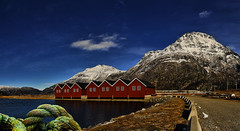 Boathouse (Remi Haugen) Tags: boathouse marina mountain visitnorway rockformation red rope sea sunndalsøra sunndal skie skyer sky snow clouds colors cloud norway norge nature spring buildings blue gras panorama landscape