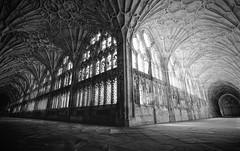 Gloucester Cathedral Cloisters 2 (khrawlings) Tags: gloucester cathedral cloisters stone fan corridor windows door church vault corner architecture building pillars harry potter bw monochrome blackandwhite choice two ways 2 paths