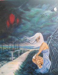 DARK SOUL (tomas491) Tags: fallen angel fantasypainting airballoons moon crows mixedmedia acrylicoilpainting darksoul raven grass beach water sky landscape blowing cloud